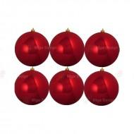 8cm Yılbaşı Topu Kırmızı Parlak (6 Adet)