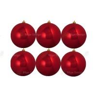 8cm Yılbaşı Topu Kırmızı (6 Adet)
