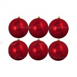 12cm Yılbaşı Topu Kırmızı Parlak (6 Adet)