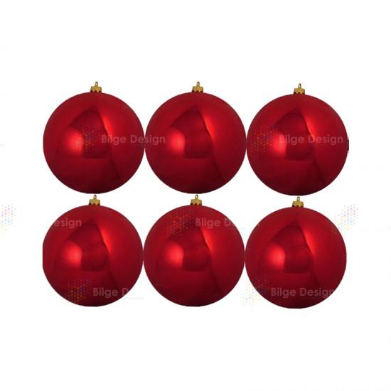10cm Yılbaşı Topu Kırmızı Parlak (6 Adet)