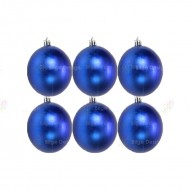 8cm Yılbaşı Topu Mavi Parlak (6 Adet)